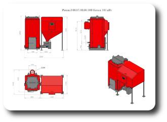 Габаритные размеры котла Ротекс-15 открытые дверки
